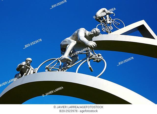 Monument to Tour de France by Jean-Bernard Métais beside 'Les Pyrénées' service area at A64 (Bayonne-Toulouse) freeway. France