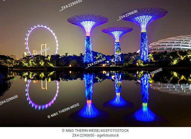 Gardens by the Bay reflecting in the water at night, Singapore, Asia