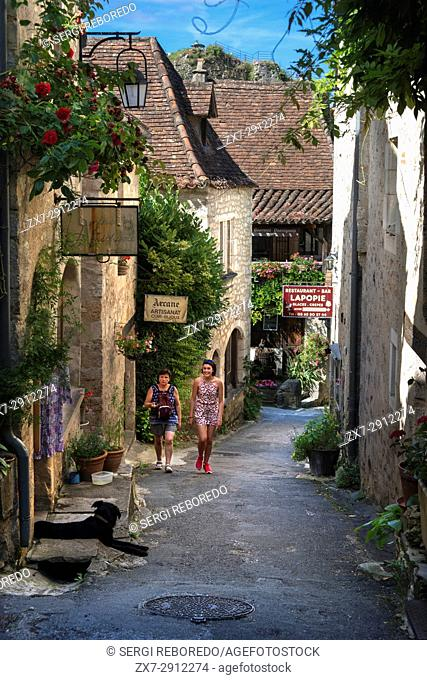 Street and Detail of buildings in Saint Cirq Lapopie, Midi Pyrénées, Lot, France