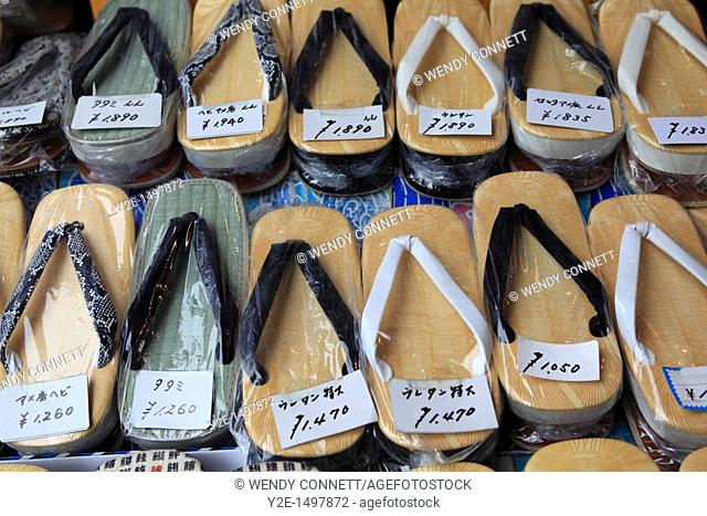 Traditional slippers for sale, Tsukiji fish market, Tokyo, Japan, Asia