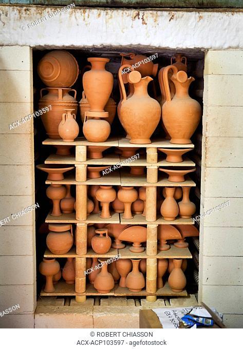 Pottery kiln filled to the brim with clay items. Savvas Keramik, Island of Rhodes, Greece