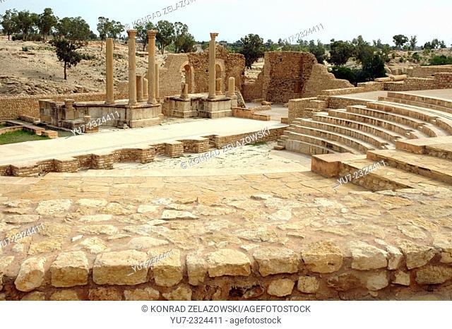 Roman ruins of theatre in ancient Sufetula, today known as Sbeitla, Tunisia