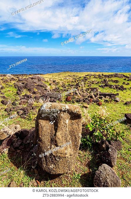 Fallen Moai in Ahu Tepeu, Rapa Nui National Park, Easter Island, Chile