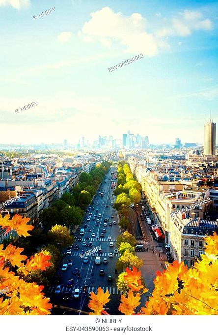 skyline of Paris city towards La Defense district at day, France