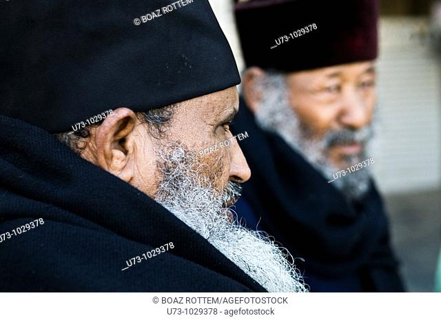 Ethiopian Orthodox priests in the holy city of Jerusalem