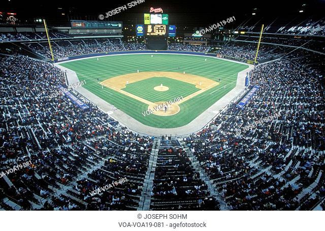 Overview of diamond and full bleachers during a night Baseball game, Turner Field, Atlanta, Georgia