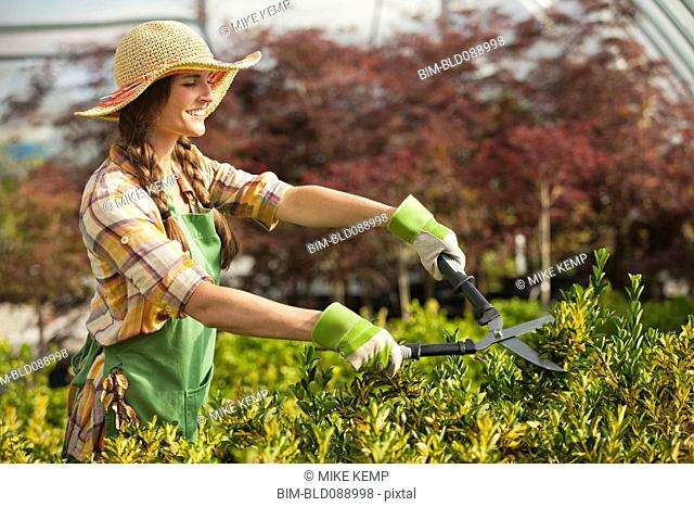 Caucasian woman trimming bush in plant nursery