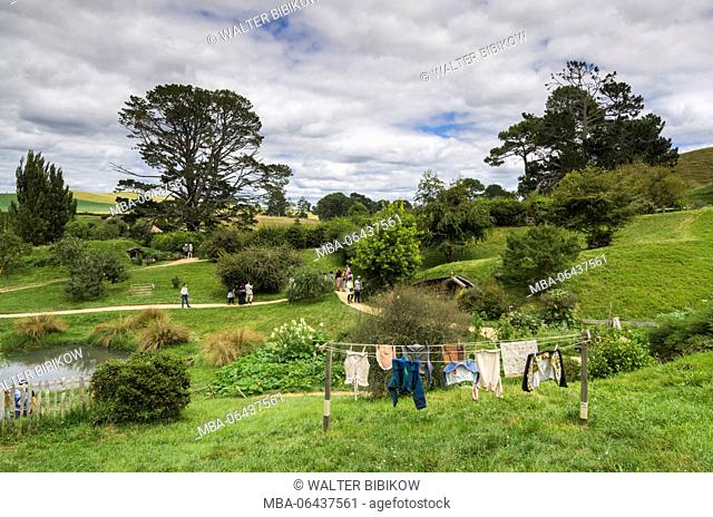 New Zealand, North Island, Matamata, Hobbiton Movie Set, Hobbit laundry