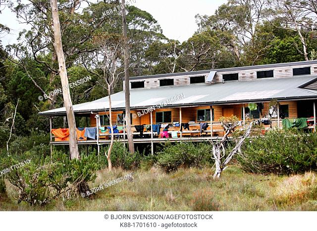 New Pelion Hut, a public accomodation for bushwalkers on the Overland Track  Cradle Mt - Lake St Clair National Park, Tasmania, Australia