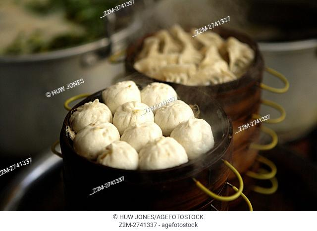 Dim Sum inside steamers at the Peaceful Market Guangzhou Canton China