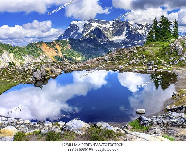 Mount Shuksan Pool Reflection Summer Artist Point Mount Baker Highway. Pacific Northwest, Washington State, Snow Mountain Grass Trees