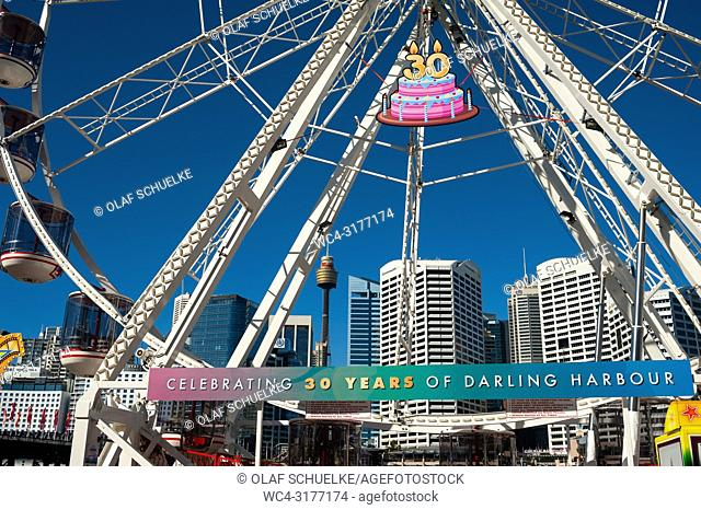 Sydney, New South Wales, Australia - A view of Sydney's cityscape with the central business district as it is seen through a big wheel at Darling Harbour
