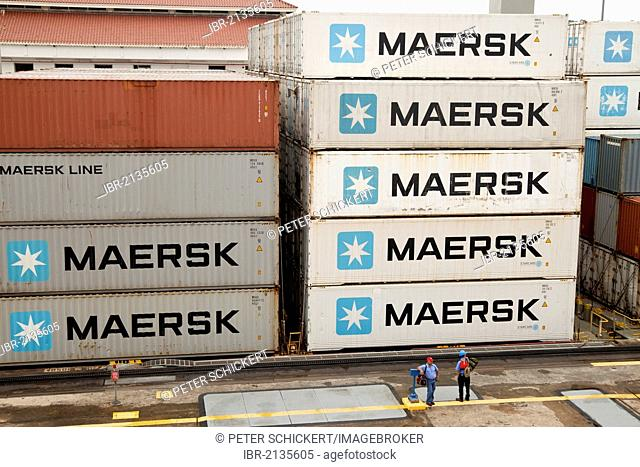 Container ship in the Panama Canal, near Miraflores Lock, Panama City, Panama, Central America