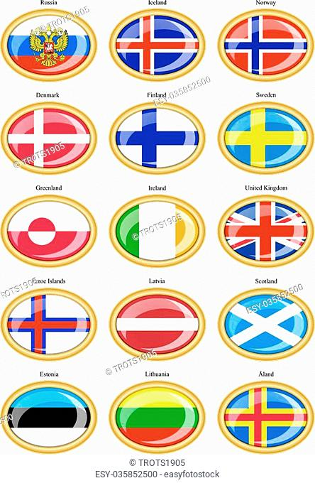 Set of icons. Flags of the Northern Europe