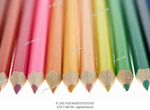 row of colourful colouring pencils