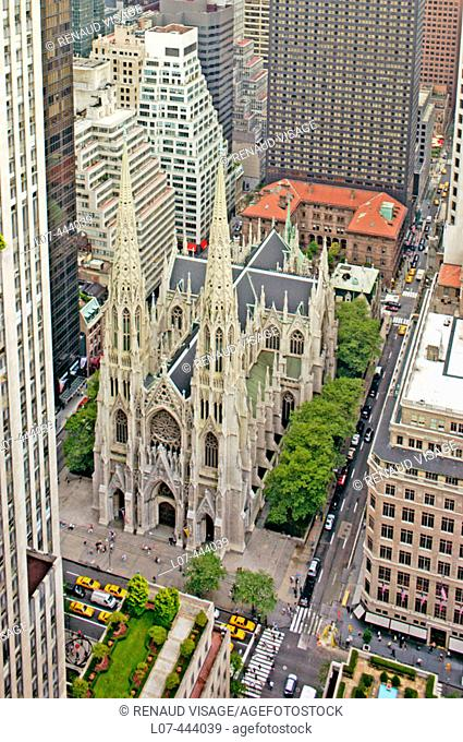 Aerial view of St. Patrick's Cathedral near Rockefeller Center. New York City. New York. United States