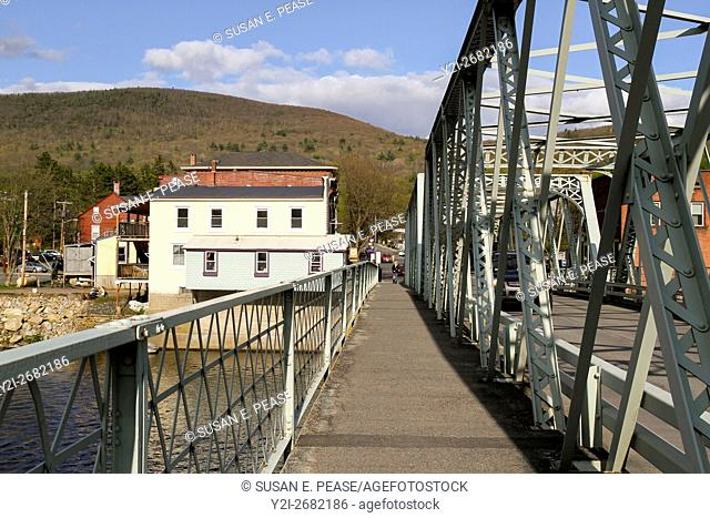 The walkway on the iron bridge between Shelburne and Buckland, two small towns which meet in the village of Shelburne Falls