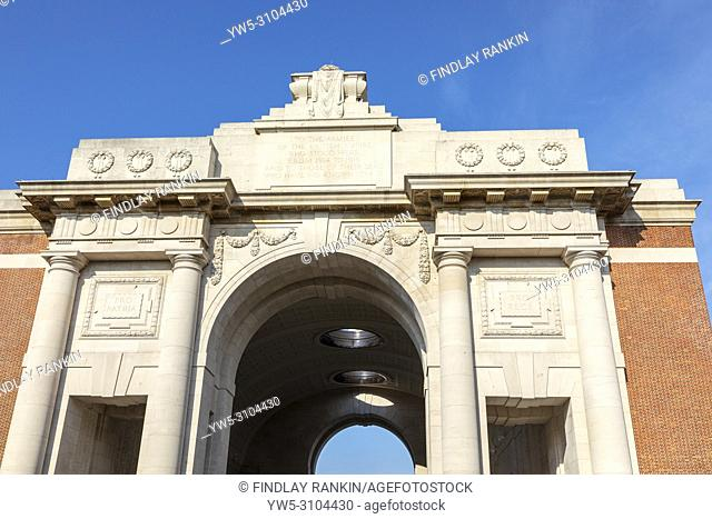 Detail from the top of the Menin Gate, Ypres, France