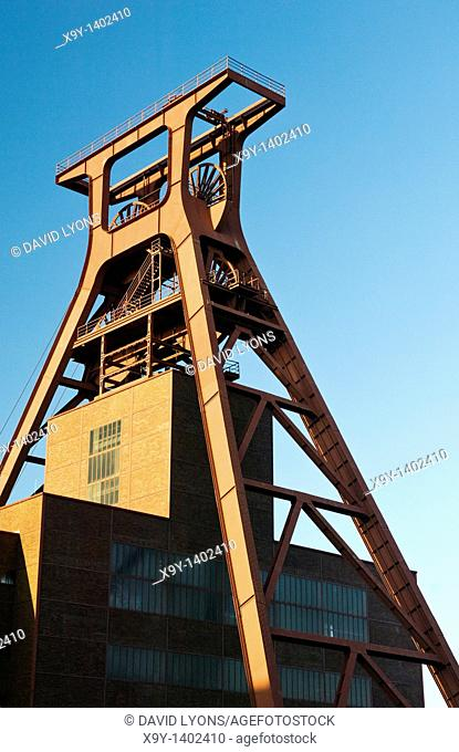 Zollverein Coal Mine Industrial Complex  Winding tower of Shaft 12  Famous symbol of Essen, and the Ruhrgebiet, Germany