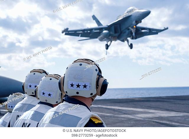 161221-N-KK394-214. . MEDITERRANEAN SEA (Dec. 21, 2016) Distinguished visitors from Spain observe operations on the flight deck of the aircraft carrier USS...
