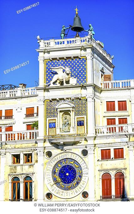 Clock Tower Zodiac Signs Saint Mark's Square Venice Italy. Clock created in 1499