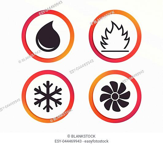 HVAC icons. Heating, ventilating and air conditioning symbols. Water supply. Climate control technology signs. Infographic design buttons