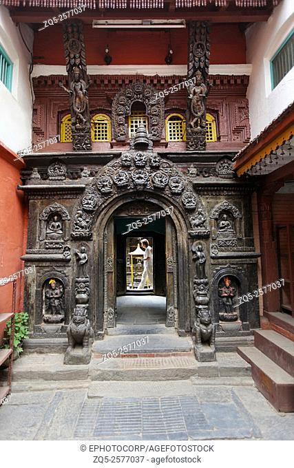 Entrance Gate. Hiranya Varna Mahavihar, Patan, Nepal
