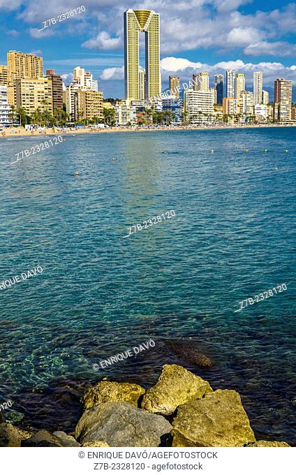 View of a towers in line near of Benidorm beach, Alicante province, Spain