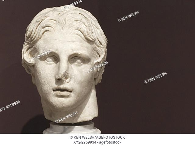 Istanbul, Turkey. Archaeological Museum. Marble head of Alexander the Great, 356 - 323 BC, dating from the first half of the 2nd century BC found at Pergamum