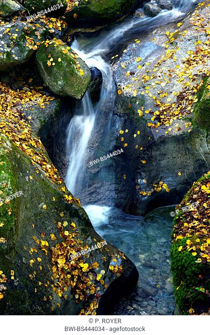 waterfall of Angon in autumn, France, Haute-Savoie, Annecy, Angon