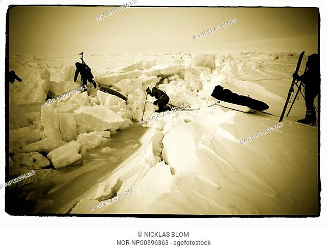 Rear view of skiers on glacier