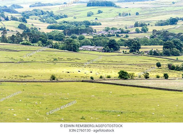 England, Yorkshire, Northumberland - Scenic landscape and rolling hills of Northumberland, a county in North East England