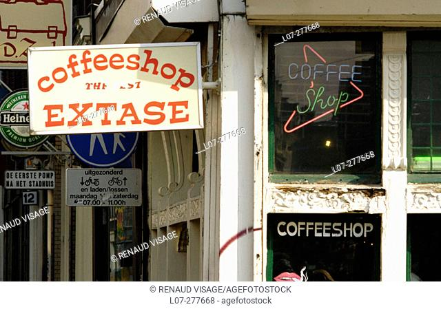 'Extase' coffee shop sign. Amsterdam. Holland