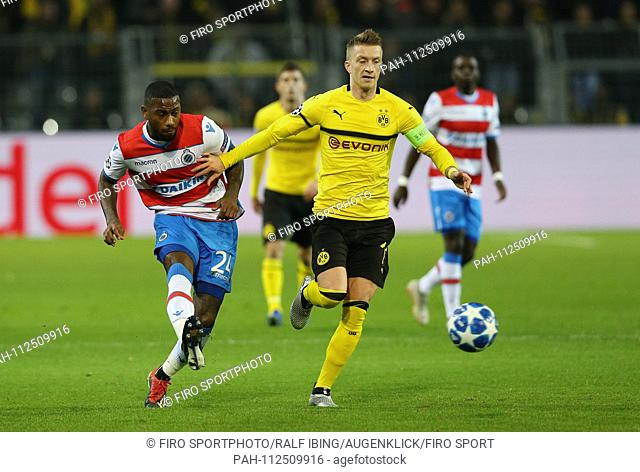firo: 28.11.2018, Football, Football: UEFA, Champions League, CL, Season 2018/2019 Group stage, BVB, Borussia Dortmund - Club Brugge DENSWIL versus REUS   usage...