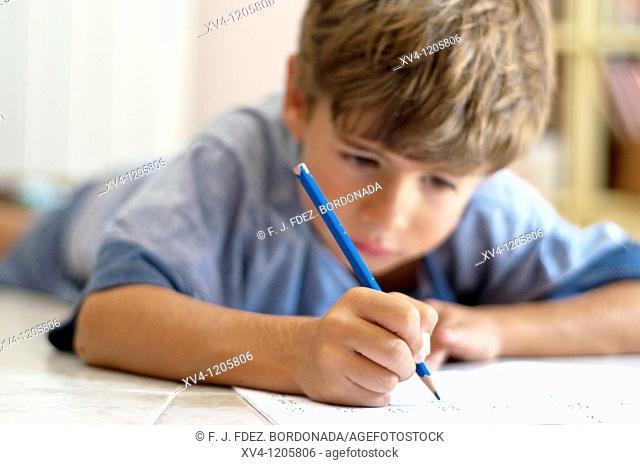 Boy studing at home