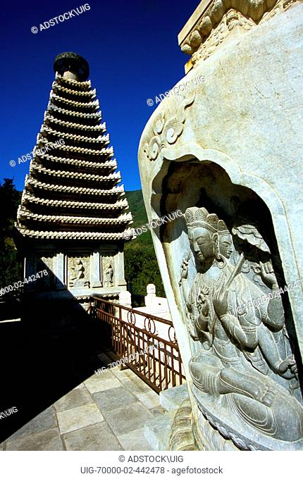 Beijing, China: Fragrant Hills Park, Carved stupas on the terrace of Bright Temple Zhao Miao, Tibetan style lamasery