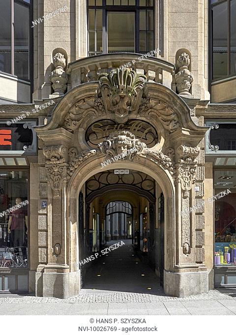 Entrance to Steibs Hof at Nikolaistrasse, Leipzig, Saxony, Germany