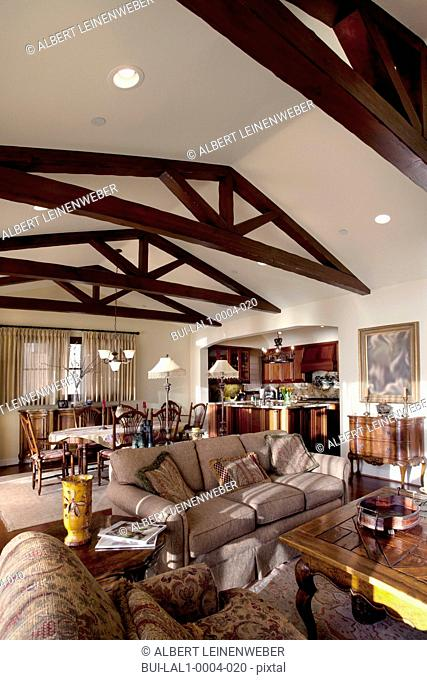 Wooden ceiling beams in great room, Laguna Beach, California, USA
