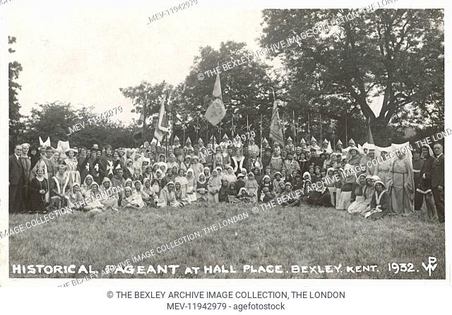Dartford Division of Kent Historical Pageant held at Hall Place in July 1932. Crowd scene, all dressed in medieval costume