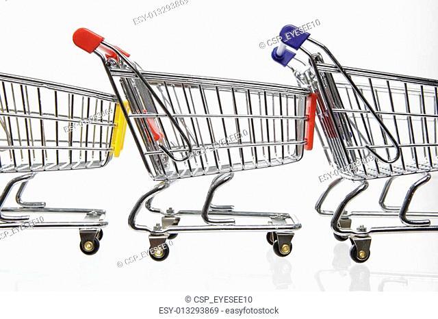 Three Shopping carts in a row