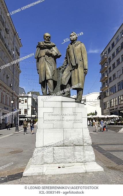 Stanislavsky and Nemirovich-Danchenko monument on Kamergersky lane. Moscow, Russia