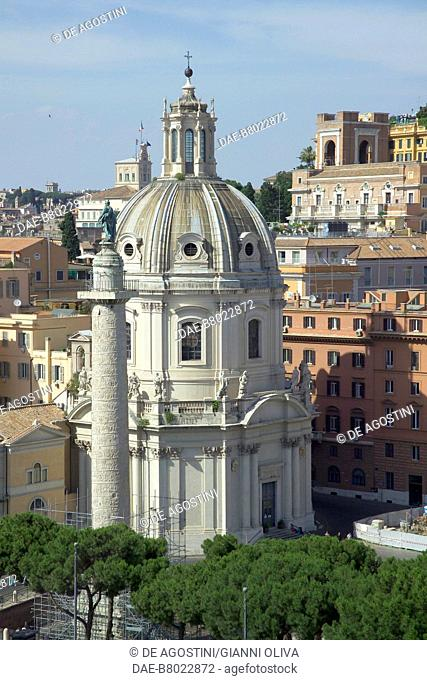 Trajan's Column and the Church of the Most Holy Name of Mary at the Trajan Forum, Rome (UNESCO World Heritage List, 1980), Lazio, Italy