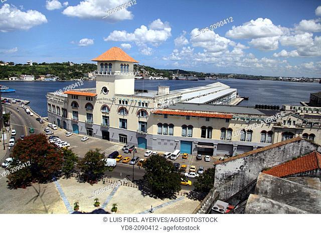 View Lonja del Comercio and the bay of Havana, Old Havana, Havana, Cuba