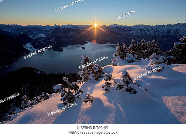 morning mood at Fahrenberg, Herzogstand, with view against Walchensee and Karwendel, Bavarian Alps, Upper Bavaria, Bavaria, Germany