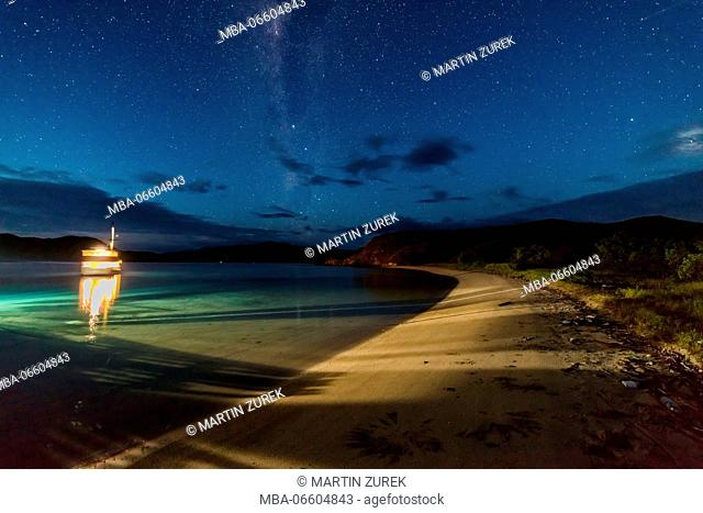 Milky way at the beach on Gili Lawadarat, Komodo, island, UNESCO, world heritage