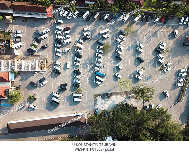 Indonesia, Bali, Aerial view of Car parking near Tanah Lot-temple