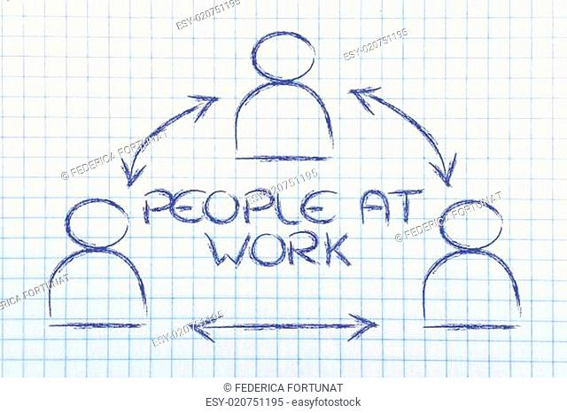 people at work, design with group of collaborative co-workers