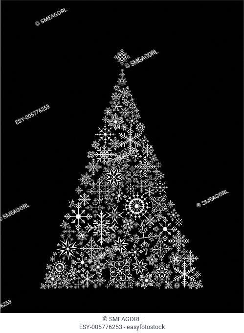 Christmas tree made of snowflake