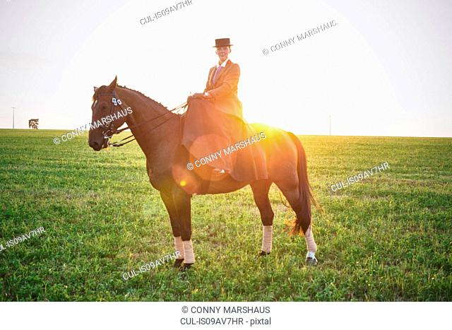 Portrait of dressage horse and rider training in field at sunset