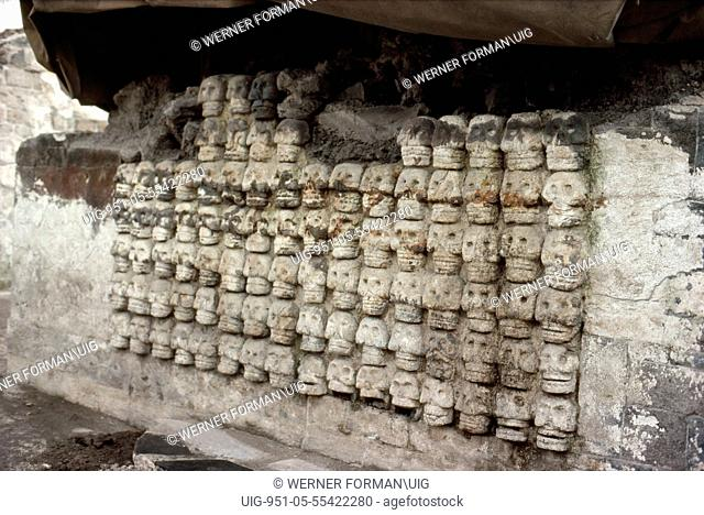 Detail of the 'Tzompantli' or skull rack found in the excavations in the Templo Mayor